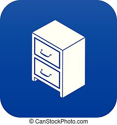Office chest of drawers icon blue vector