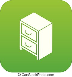 Office chest of drawers icon green vector isolated on white...