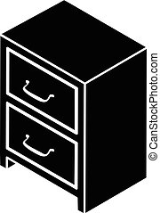 Office chest of drawers icon, simple style