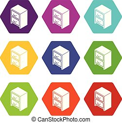 Office chest of drawers icons set 9 vector