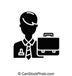 Office clerk black icon, concept illustration, vector flat ...