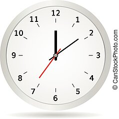Office clock vector illustration classic white  watch realistic clock