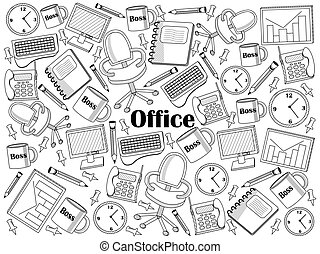 Office colorless set vector illustration