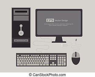 Office Computer Vector Illustration