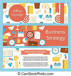 Office Concept and Business Strategy Vector Template Banners Set in Modern Flat Style