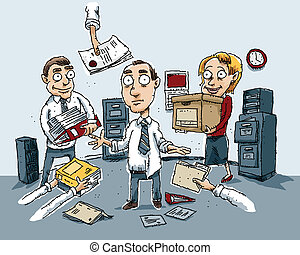 A cartoon scene of total confusion in an office.