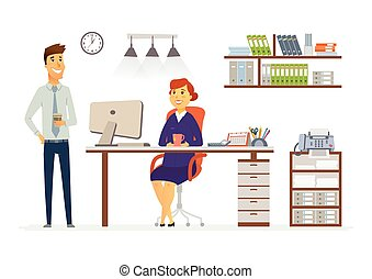 Office Consultation - modern vector cartoon business characters illustration