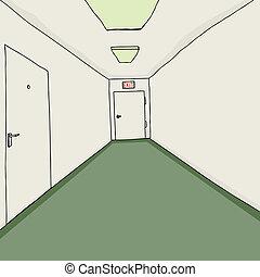 Office Corridor with Exit - Hand drawn cartoon corridor...