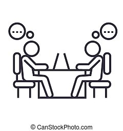 office coworkers linear icon, sign, symbol, vector on isolated background