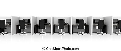 Office cubicles with equipment and black chairs on white...