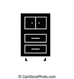 Office cupboards black vector concept icon. Office cupboards flat illustration, sign