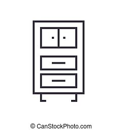 Office cupboards linear icon, sign, symbol, vector on isolated background