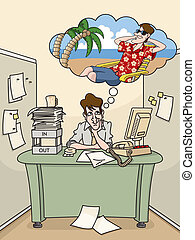 A bored office worker sits in his cubicle dreaming of a tropical vacation.