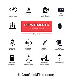 Office departments - line design icons and pictograms set -...