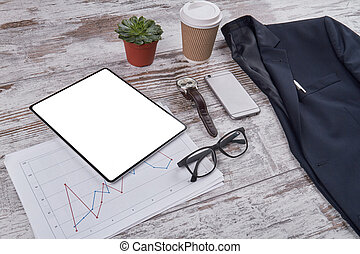 Office desk accessories composition.