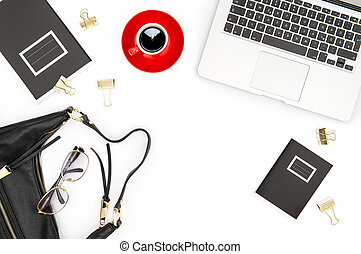Office desk flat lay Notebook coffee feminine accessories
