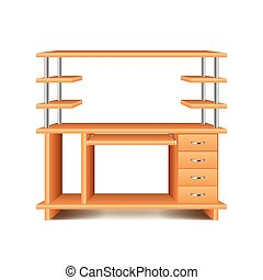 Office desk isolated on white vector - Office desk isolated...