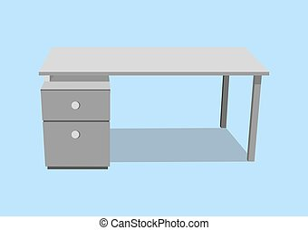 office desk isolated single object realistic on blue...