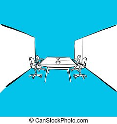 office desk meeting room on blue background. hand-drawn vector sketch. business concept design.