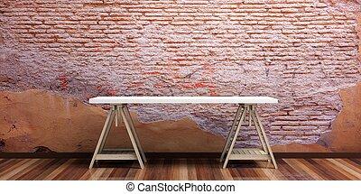Office desk on a wooden floor. 3d illustration