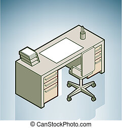Office Desk (part of the Modern Furniture Isometric 3D Icons...