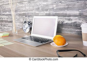 Office desk side - Side view of office desktop with blank ...