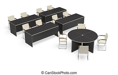 Office desk on a white background. It's 3D image.