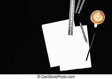 Office desk table with blank paper with pencil and coffee cup. Top view with copy space design