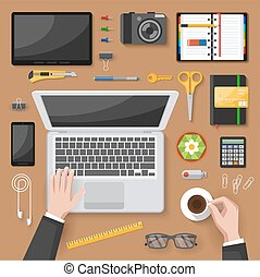Office desk top view design with hands of manager computers cactus stationery on beige background vector illustration