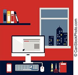 office desk with computer in the evening illustration
