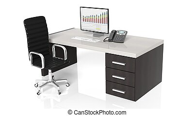Office desk with equipment and black chair on white background