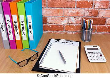 Office desk with file