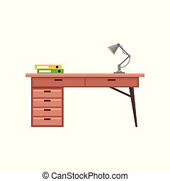 Office desk with lamp, interior design element vector Illustration on a white background