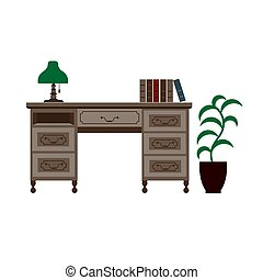 Office desk with shelves, green lamp and books on
