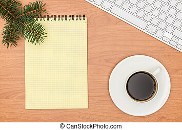 Office desk, Working on a Wooden Table with notebook and Christm