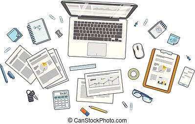 Office desk workspace top view with laptop computer and analytics papers with graphs and data and stationery objects on table. All elements easy to use separately or recompose illustration. Vector.