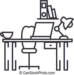 office desk,home desk vector line icon, sign, illustration on background, editable strokes