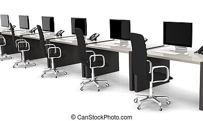 Office desks with equipment and black chairs on white background