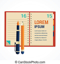 Office diary note book and notepad, background