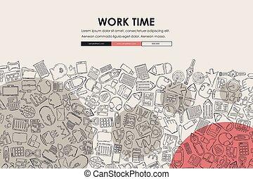 office Doodle Website Template Design