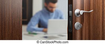 Office doorway with open door, blur emploee on the background. 3d illustration