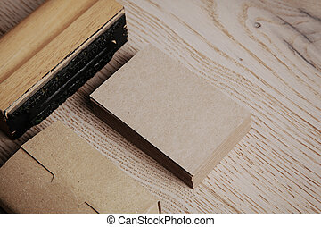 Office elements on the wooden background. Horizontal