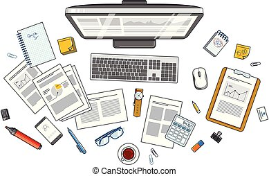 Office employee or entrepreneur work desk workplace with PC computer and analytics papers with graphs and data and stationery objects on table. All elements are easy to use separately. Vector.