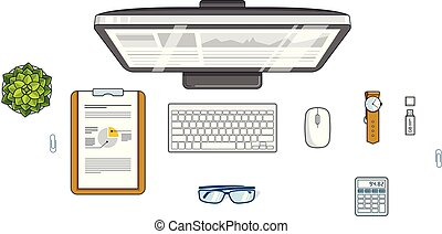 Office employee or entrepreneur work desk workplace with PC computer and diverse stationery objects for work isolated, top view. All elements are easy to use separately. Vector.