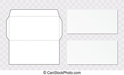 Office Envelope Cut Up Template. EPS10 Vector