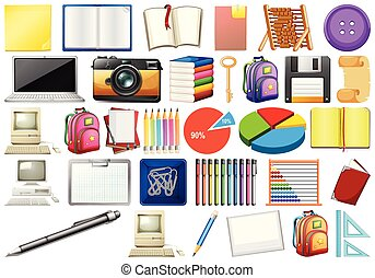 Office eqipment with books, computers, stationary and educational supplies illustration