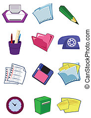 Office equipment and stationery in vector
