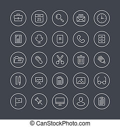 Office equipment flat line icons