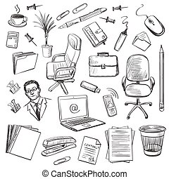 Office equipment isometric. Set of vector icon