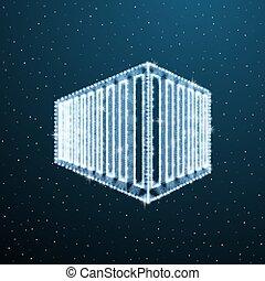 Office exterior polygonal concept. Wireframe 3d building logo. Vector low poly abstract commercial facade